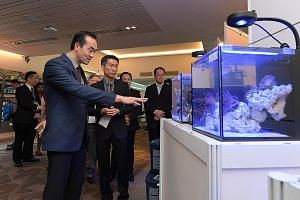 Dr Koh Poh Koon checking out an exhibit at the inaugural AquaRealm 2017, accompanied by Mr William Chew, chairman of the Singapore Aquarium Fish Exporters' Association.