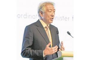 DPM Teo Chee Hean speaking at the Ecosperity conference on Monday.