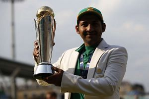 Captain Sarfraz Ahmed with the ICC Champions Trophy after Pakistan thrashed India by 180 runs.