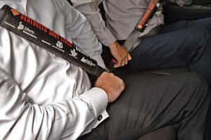 Generic photo of passengers wearing seat belts.