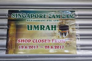 Zam Zam said in a Facebook post that it will be closing from June 19 to June 28 as all of its employees have gone for umrah to Mecca.