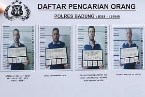 (From left) Dimitar Nikolov, Sayed Muhammad, Shaun Edward Davidson and Tee Kok King, prisoners at Bali's Kerokoban Prison, reportedly escaped from their cells using a tunnel.