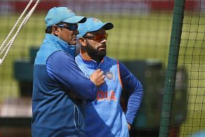 Former India coach Anil Kumble (left) with captain Virat Kohli during training at the ICC Champions Trophy. Kohli had criticised Kumble's leadership style after India lost the Champions Trophy final to Pakistan on Sunday.