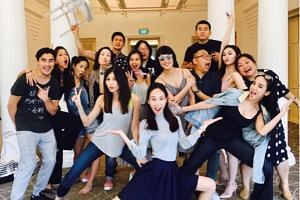 The cast of Crazy Rich Asians in Singapore, minus Constance Wu, Henry Golding and Michelle Yeoh. PHOTO: INSTAGRAM/RONNY CHIENG