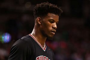 Jimmy Butler of the Chicago Bulls at the third quarter of Game Five of the Eastern Conference Quarterfinals against the Boston Celtics at TD Garden on April 26, 2017 in Boston, Massachusetts.