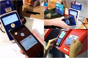(Clockwise, from left) Android Pay, UOB Mighty, and NETS Flashpay