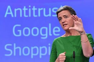 European Commissioner for Competition Margrethe Vestager at press conference on an antitrust case against Google at the European Commission in Brussels, on June 27, 2017.