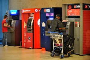 ATM machines located in Changi Airport Terminal 2.