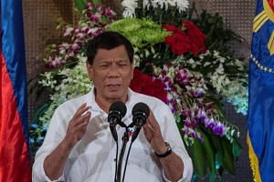 Philippine President Rodrigo Duterte giving a speech during Eid al-Fitr celebrations at the Malacanang Palace in Manila, on June 27, 2017.