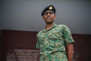 Full-time national serviceman Private (PTE) Velusamy Sathiakumar Ragul Balaji, 18, who will become a cyber defender.