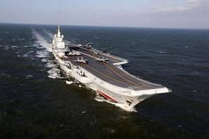 China's Liaoning aircraft carrier is seen sailing during military drills in the Pacific.