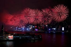 Fireworks exploding over Victoria Harbour to celebrate the 20th anniversary of the territory's handover from Britain to Chinese rule, in Hong Kong, China on July 1, 2017.