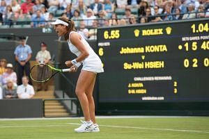 Konta celebrates winning the first round match against Taiwan's Su-Wei Hsieh.