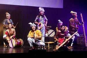 Percussion group Nadi Singapura stages theatrical shows with storylines, poetry, dance and singing.