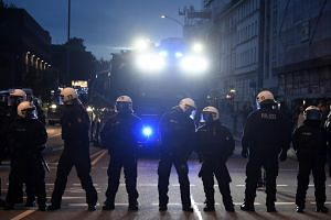 German riot police blocking a street during a protest at Schanzenviertel ahead of the G20 summit in Hamburg, Germany, on July 4, 2017.