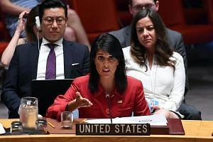 US Ambassador to the United Nations Nikki Haley speaks during a Security Council meeting on North Korea at the UN headquarters in New York on July 5, 2017.