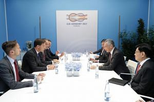 Prime Minister Lee Hsien Loong (second from right) and Prime Minister of the Netherlands Mark Rutte met on the sidelines of the G20 Summit, on July 7, 2017.