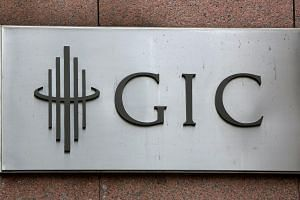 The GIC logo is seen on a building in Singapore.