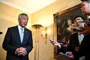 Prime Minister Lee Hsien Loong doing a media wrap-up at Bayerischer Hof Hotel in Munich on July 10, 2017.