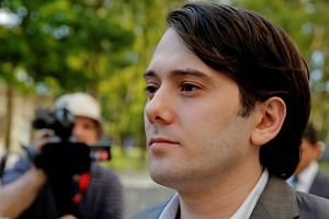 Martin Shkreli, former chief executive officer of Turing Pharmaceuticals and KaloBios Pharmaceuticals Inc, departs after a hearing at US Federal Court in Brooklyn.