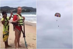 Australian businessman Roger Hussey fell while parasailing after accidentally pulling on a hook that unstrapped his harness.