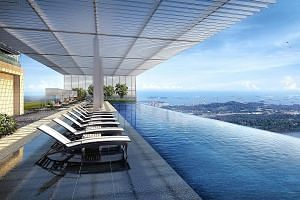 The infinity pool at GuocoLand's Wallich Residence, which will offer a
