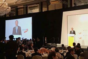 Deputy Prime Minister Teo Chee Hean speaking at the FutureChina Global Forum. He said the overarching concept of the Belt and Road is