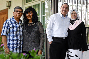Mr Mohamed Salleh Marican with his wife Sapiyah Abu Bakar (left), and Mr Farid Khan Kaim Khan and his wife Naeemah Shaik Abu Bakar (right).