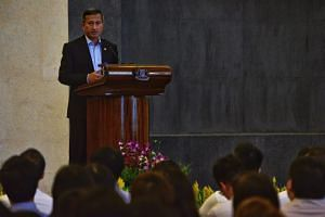 Miinister for Foreign Affairs Vivian Balakrishnan holding a town hall for MFA staff about small state diplomacy at the Ministry of Foreign Affairs Singapore, on July 17, 2017.