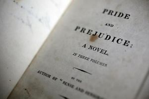 A first edition of Pride and Prejudice is seen at the Jane Austen House in Chawton, southern England January 24, 2013.