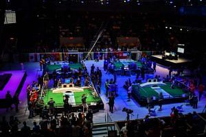 Teams compete during the FIRST Global Challenge, an international robotics competition, in Washington, DC.