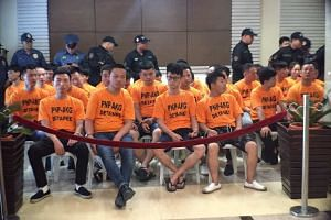 The 45 suspects in the kidnap-for-ransom case of Singaporean Wu Yan were presented at a news briefing on Thursday, July 20.