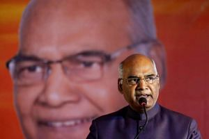 Ram Nath Kovind, nominated presidential candidate of India's ruling Bharatiya Janata Party (BJP), delivers a speech during a welcoming ceremony as part of his nation-wide tour, in Ahmedabad, India on July 15, 2017.