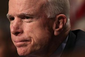 US Senator John McCain during a hearing before the Senate Armed Services Committee on Capitol Hill in Washington, DC.