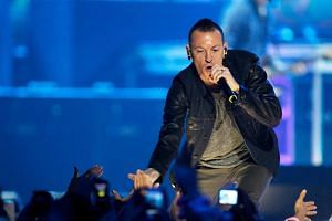 Chester Bennington performs during the second day of the 2012 iHeartRadio Music Festival, on Sept 22, 2012.