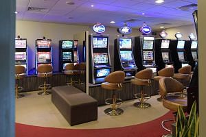 The jackpot machines at the People's Association headquarters staff club.