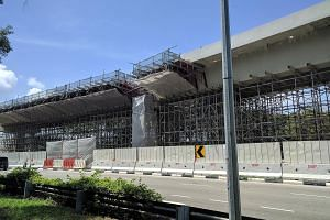 Scaffolding put up as additional support could be seen yesterday afternoon. According to the LTA, it helps prop up beams at the remaining spans of the viaduct, where cracks have been found at 11 locations on load-bearing corbels.