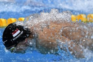 Joseph Schooling on the way to finishing third in his 50m butterfly semi-final at the World Championships in Budapest on July 23, 2017.