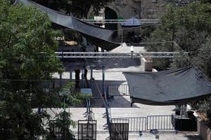 Security measures installed by Israeli authorities are seen outside Lions' Gate, a main entrance to Al-Aqsa mosque compound in Jerusalem, on July 23, 2017.