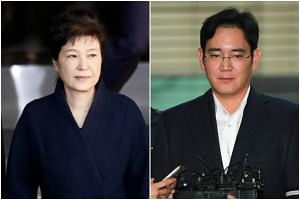 It is widely expected that live TV coverage of Park's (left) sentencing, expected in October, and Samsung heir Lee will be available.