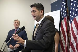 Speaker of the House Republican Paul Ryan speaks during a news conference following a Republican caucus meeting, on Capitol Hill in Washington, DC, on July 25, 2017.