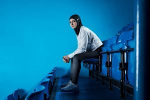 Sportswear brand Nike will launch a breathable mesh hijab (above) in spring next year, becoming the first major sports apparel maker to offer a traditional Islamic headscarf designed for competition.