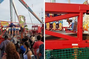 The Fire Ball ride at the Ohio State Fair sent riders catapulting through the air on July 26, 2017.