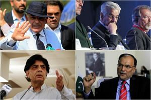 The most likely candidates for the country's next prime minister are (clockwise from top left) Shabaz Sharif, Khawaja Muhammad Asif, Chaudhry Nisar Ali Khan and (not pictured) Sardar Ayaz Sadiq.
