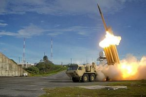 A Terminal High Altitude Area Defense (THAAD) interceptor is launched during a successful intercept test, in this undated handout photo provided by the US Department of Defense, Missile Defense Agency.
