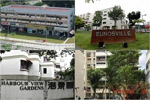 (Clockwise from top left) Goh & Goh Building, Eunosville, Serangoon Ville and Harbour View Gardens.