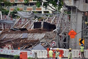 The section of viaduct under construction at the Pan-Island Expressway that collapsed on July 14, killing one worker and injuring 10.