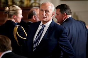 White House Chief of Staff John Kelly stands before a Medal of Honour ceremony in the East Room of the White House in Washington, the United States, on July 31, 2017.