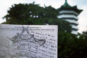The writer anxiously doodled the Mount Vernon Columbarium pagoda framed by trees during Qing Ming Festival last year as she was worried then it could be the last time she would get to see it. The Housing Board announced in 2013 that the columbarium w