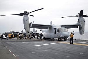 An MV-22 Osprey aircraft at the start of Talisman Sabre, a joint military exercise between the US and Australia, on June 29.